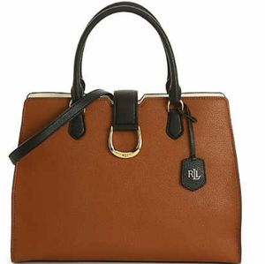 RALPH RALPH LAUREN LEATHER CITY SATCHEL LARGE NWT